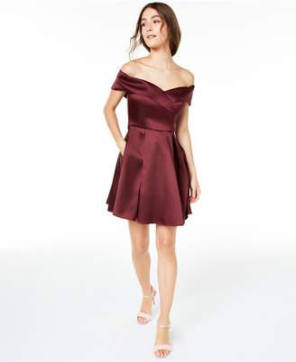 B. Darlin Juniors' Off-The-Shoulder Satin Dress