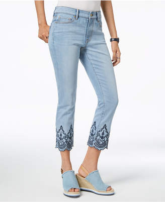 Tommy Hilfiger Embroidered Scallop-Hem Cropped Jeans, Created for Macy's