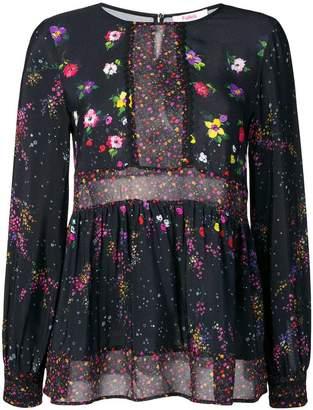 Blugirl sheer panelled floral blouse