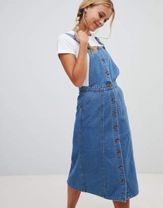Urban Bliss Button Through Pinafore Midi Denim Dress