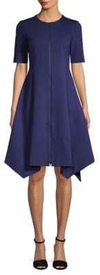 Lafayette 148 New York Short-Sleeve Asymmetric A-Line Dress