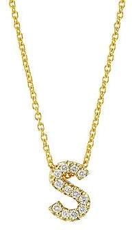 Roberto Coin Women's Tiny Treasures Diamond & 18K Yellow Gold Letter S Pendant Necklace