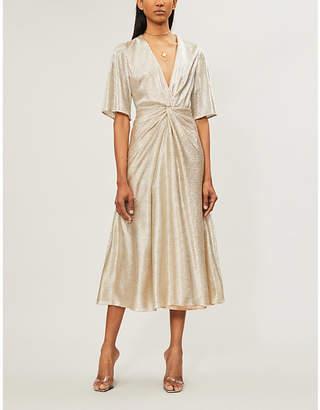 Galvan Stella V-neck metallic woven dress