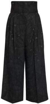 Dolce & Gabbana Dolce& Gabbana Women's Textured Print Cropped Wide-Leg Trousers - Black - Size 38 (2)