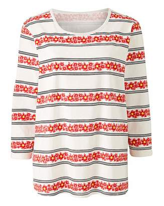 Carvela Floral Stripe 3/4 Sleeve T-Shirt