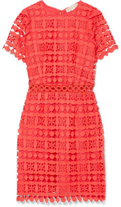 MICHAEL Michael Kors Ruffled Corded Lace And Crepe De Chine Dress - Pink