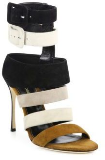 Sergio Rossi Baobab Zebra Strappy Suede Sandals