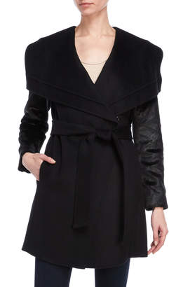 Karen Millen Faux Fur Sleeve Wrap Coat