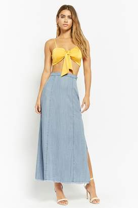 Forever 21 Flared Chambray Maxi Skirt