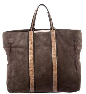 Stuart Weitzman Embossed Leather Trim Suede Tote