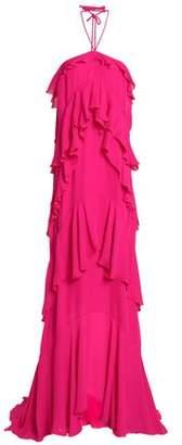 Roberto Cavalli Ruffled Silk-Crepe Halterneck Gown
