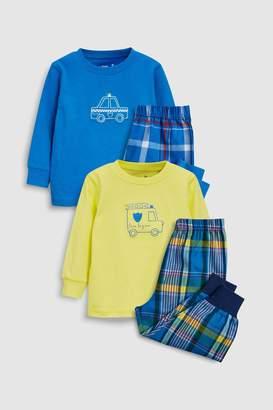 Next Boys Multi Transport Check Woven Pyjamas Two Pack (9mths-8yrs)