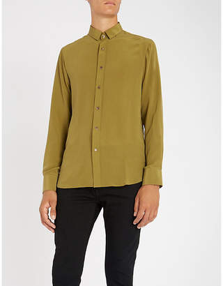 MAXIMILIAN ROBINSON The Khaki contrast-trim regular-fit silk shirt