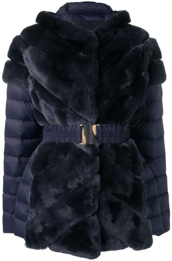 Liska rabbit fur padded belted coat