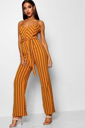 boohoo Striped Wide Leg Belted Jumpsuit