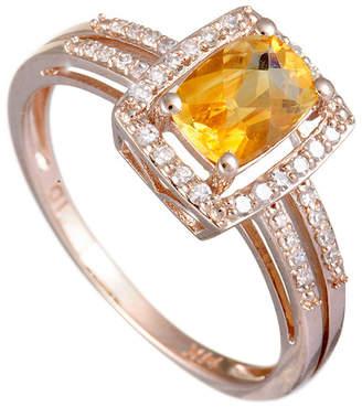 Generic Gemstones 14K Rose Gold 0.19 Ct. Tw. Diamond & Citrine Ring
