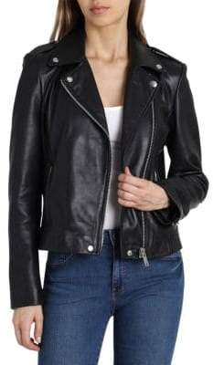 Badgley Mischka Washed Leather Moto Jacket