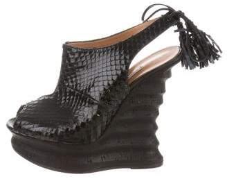 Alexa Wagner Snakeskin Wedge Sandals