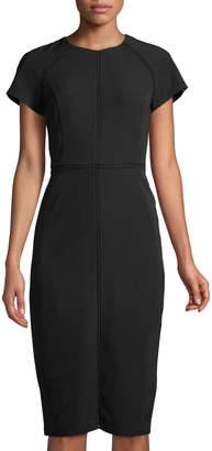 Maggy London Jewel-Neck Lace-Seam Sheath Dress