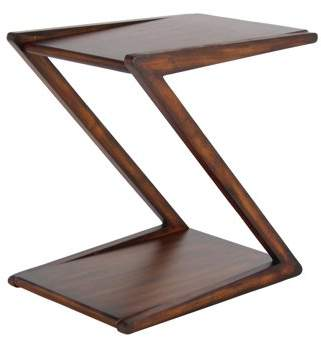 DecMode Decmode Modern Wooden Z-Shaped Brown Accent Table, Rustic Brown