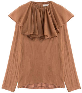 Nina Ricci Silk Crepe Blouse with Ruffled Collar