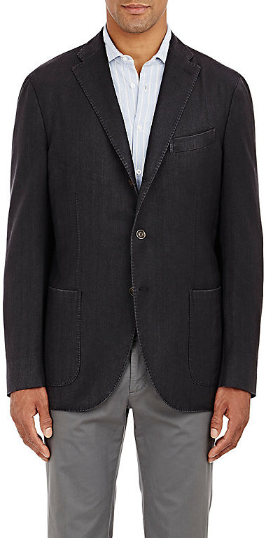 BoglioliBoglioli Men's Herringbone Travel Jacket-Black