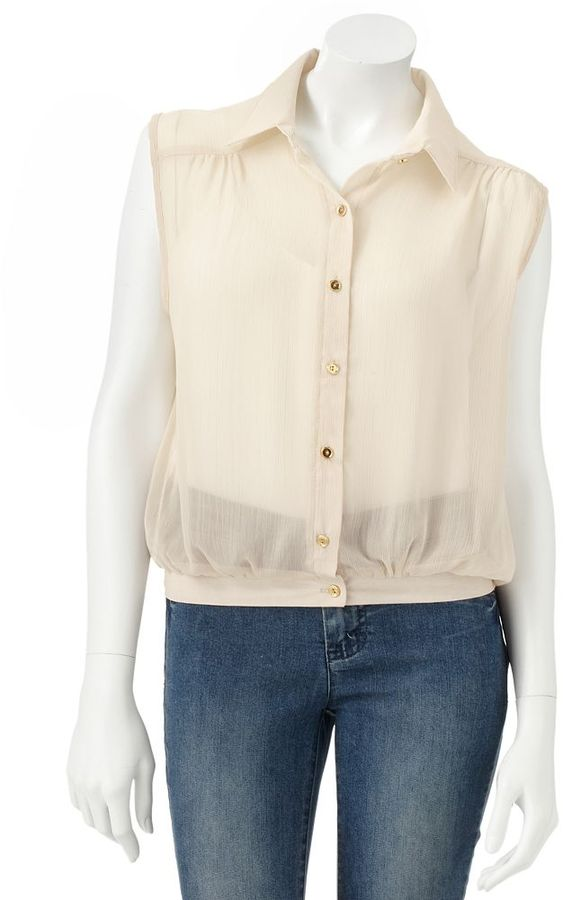 About a girl chiffon button-front tank - juniors