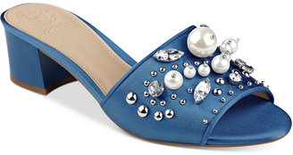 GUESS Women's Dancerr Embellished Mules $89 thestylecure.com