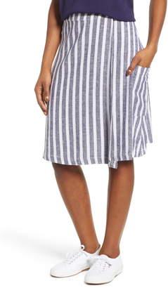 Caslon Stripe Linen Blend Wrap Skirt