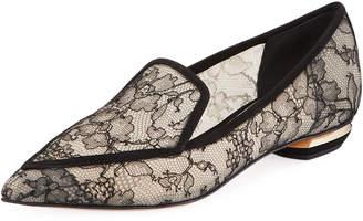 Nicholas Kirkwood Beya Lace Point-Toe Flat Loafers