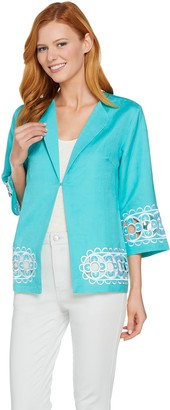 Bob Mackie Bob Mackie's Floral Embroidered Cut-Out Linen Jacket