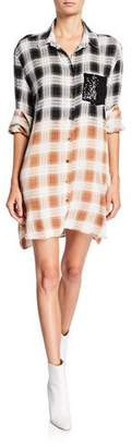 Loyd/Ford Plaid Shirt Dress with Sequined Pocket