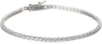 Sterling Silver Created Sapphire Round Fashion Tennis Bracelet 7.5""