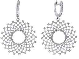 Effy 14K White Gold & Diamond Burst Drop Earrings