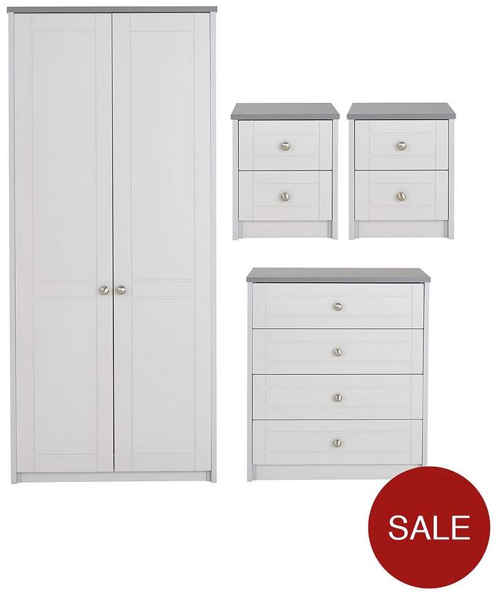 Alderley 4-Piece Ready Assembled Package - 2 Door Wardrobe, 4 Drawer Chest And 2 Bedside Cabinets