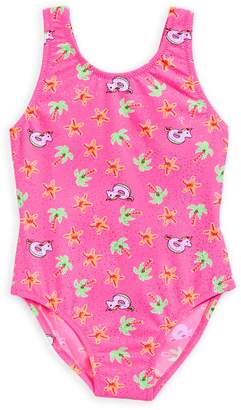 Flapdoodles Little Girl's One-Piece Unicorn-Print Bathing Suit