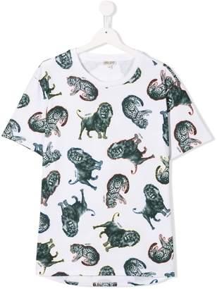 Kenzo TEEN lion & tiger print T-shirt