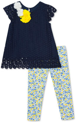 031beee1558e Rare Editions Baby Girls 2-Pc. Lace Tunic & Floral-Print Leggings Set