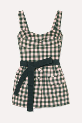 Silvia Tcherassi - Skylar Belted Gingham Cotton-blend Top - Green
