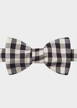 Paul Smith Men's Black And White Gingham Silk Bow Tie
