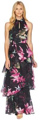 Tahari ASL Ruffle Neckline Tiered Gown Women's Dress