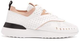 Tod's Contrast Panel Perforated Leather Trainers - Womens - White