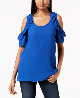 NY Collection Petite Ruffled Cold-Shoulder Top