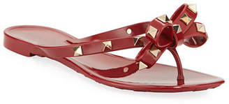 Valentino Jelly Rockstud Flat Thong Sandals