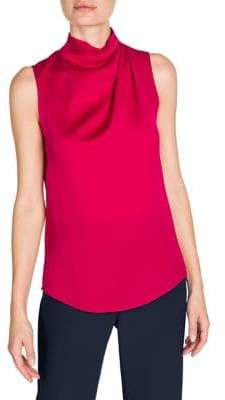 Giorgio Armani Silk Ruched Sleeveless Blouse