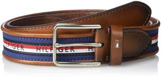 Tommy Hilfiger Tommy Hilfigher Men's Ribbon Inlay Belt - Fabric Belt with Single Prong Buckle