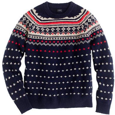 J.Crew Lambswool Seaspey Fair Isle sweater