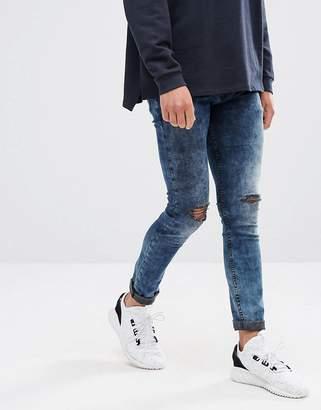 Asos Super Skinny Jeans Blue Black Acid Wash With Knee Rips