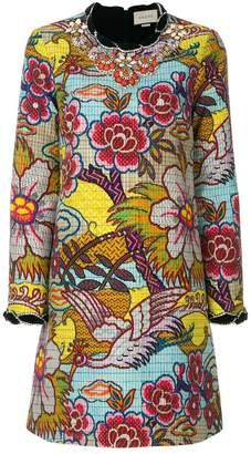 Gucci embellished floral print dress