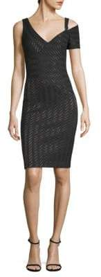 Yigal Azrouel Stretchy Weave Striped Bodycon Dress